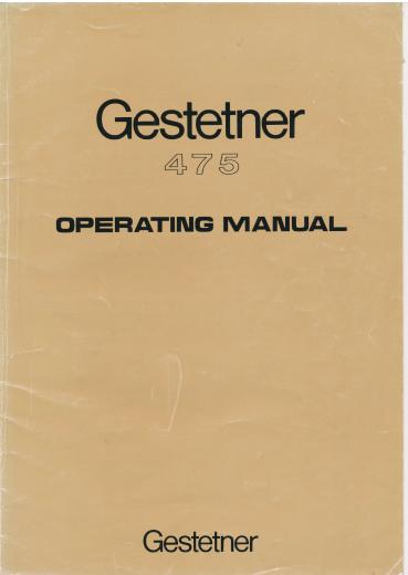 Gestetner 475 operating manual als pdf